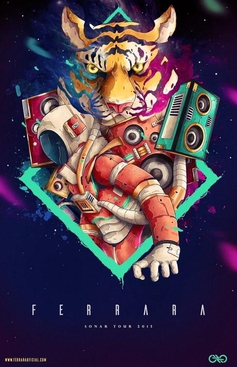 Poster Ferrara Rock band - tiger - charringo | ello
