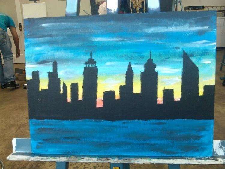 Skyline painting - illustration - valerialopez | ello
