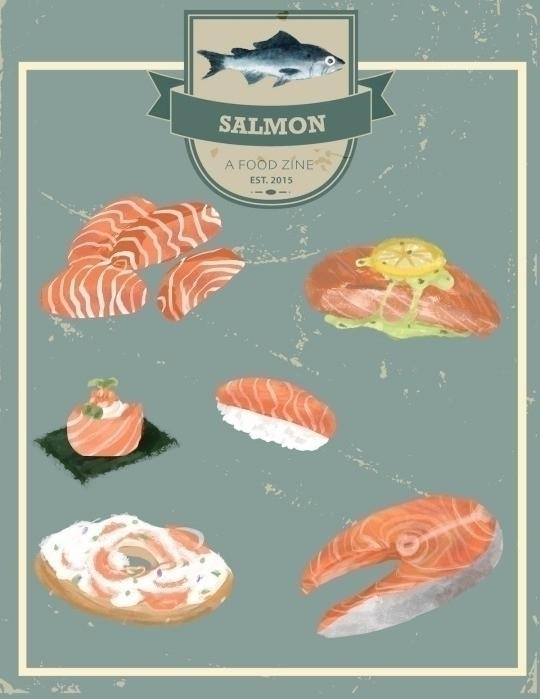 salmon - food, digitalart - llyvn | ello