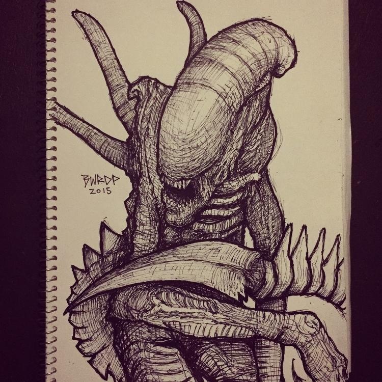 Xenomorph - Pen Sketch - #alien#xenomorph#giger#pen#illustration - bwrdp   ello