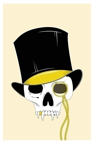 tophat, vector, monicle, skull - hardknoxcreative | ello