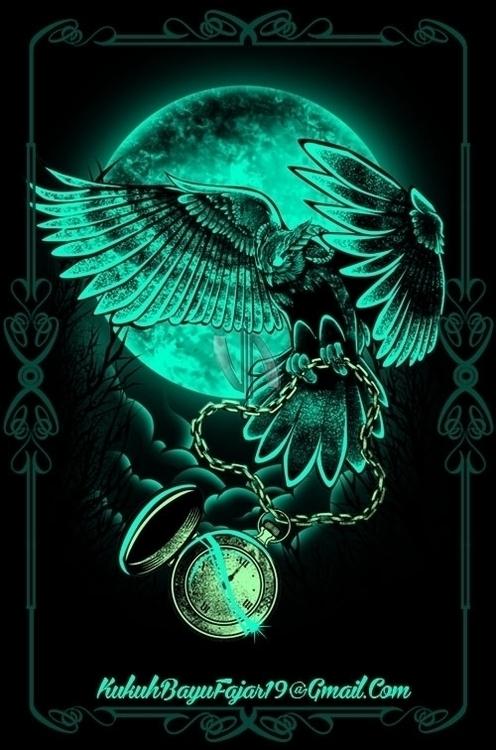 Horned Owl - owl, bird, moon, night - vhayu19 | ello