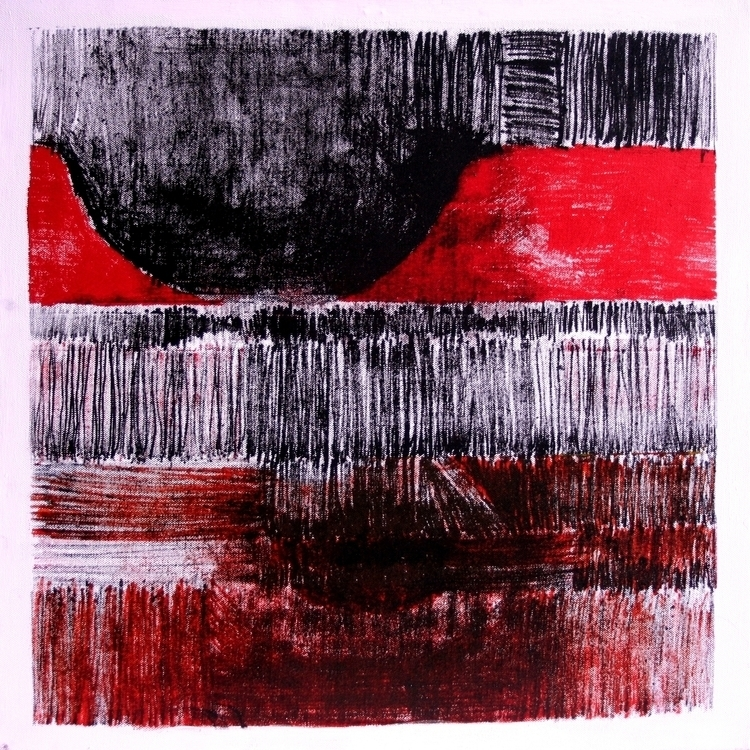 painting, abstract, red, monotype - balint-2573 | ello