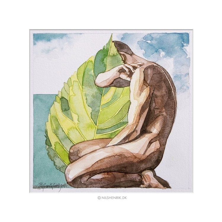 Green Leaf 3 - watercolour, male - nilshenrikdk | ello