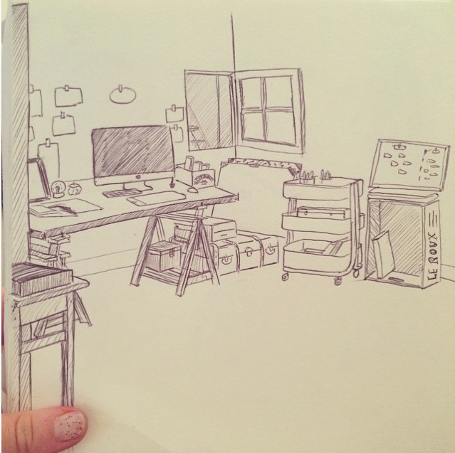 desk - sketch, sketchbook, evaroussel - evapointpsd | ello