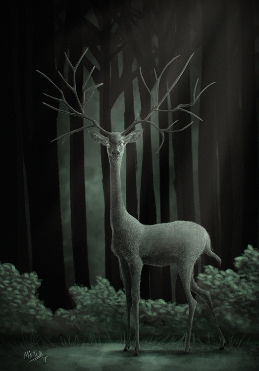spirit deer - illustration, creature - atarial | ello