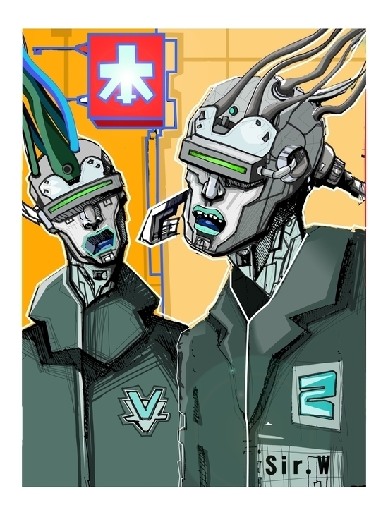Cyborgs - illustration, drawing - vitalic-1248 | ello