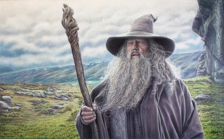A2ish painting Gandalf charcoal - atarial | ello