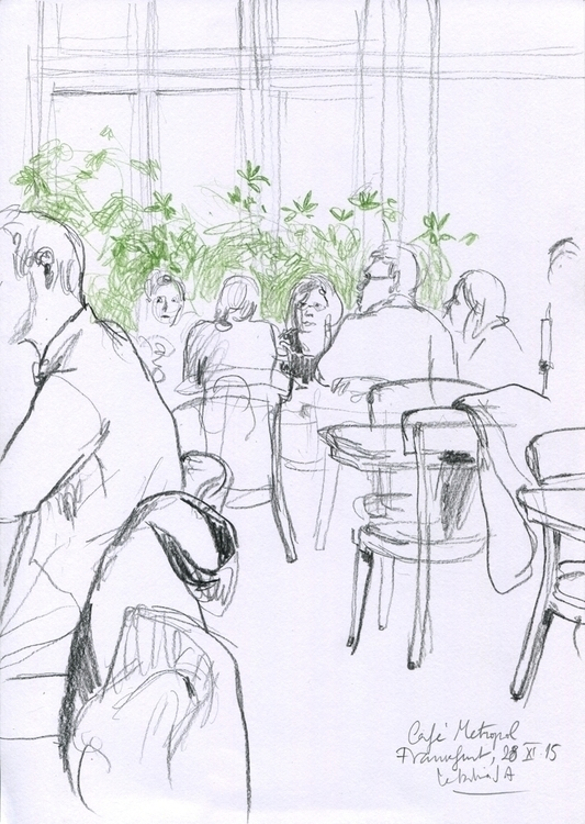 Café Metropol. Pencil sketch - illustration - catilustre | ello