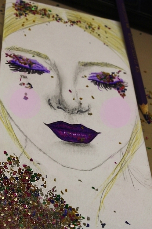 Glitter Girl - illustration, glitter - kaitlynsmith | ello
