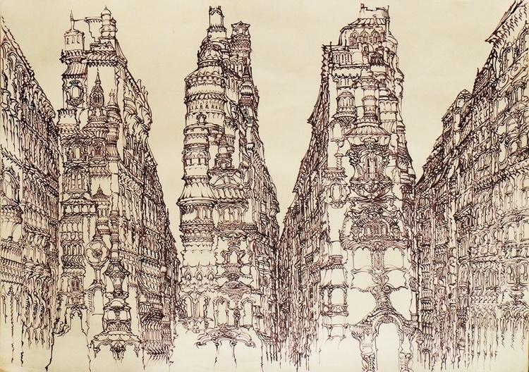 imaginary city - illustration, drawing - grabbo | ello
