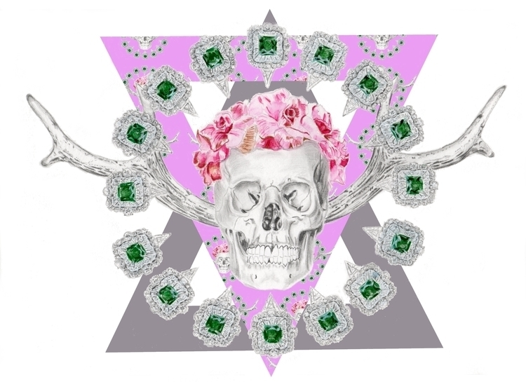 pink death - illustration, art, skull - lubicatothova | ello