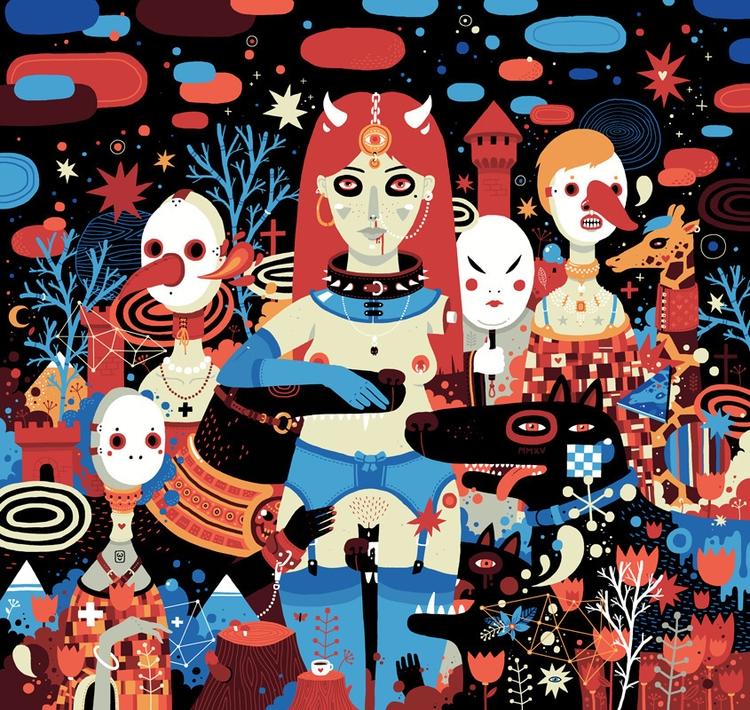 Wolves - illustration, girl, wolf - miaoumiaou | ello