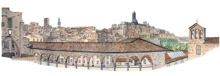 Siena - Ink Watercolour - illustration - alexanderashby | ello