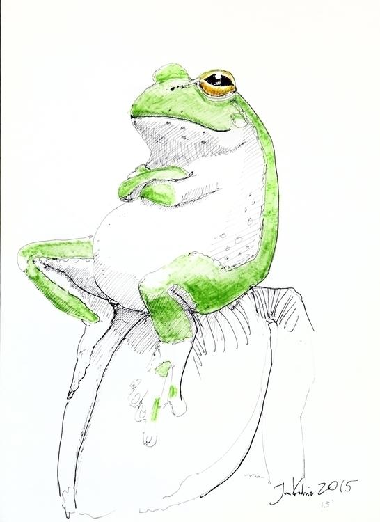 A3, Artpen + markers, 15 - frog - jandraws | ello