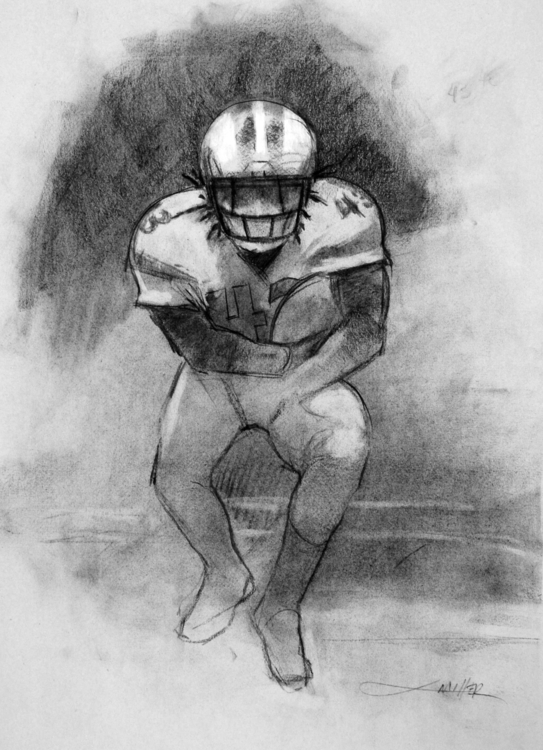 Football Player 18x24 charcoal  - camm182 | ello