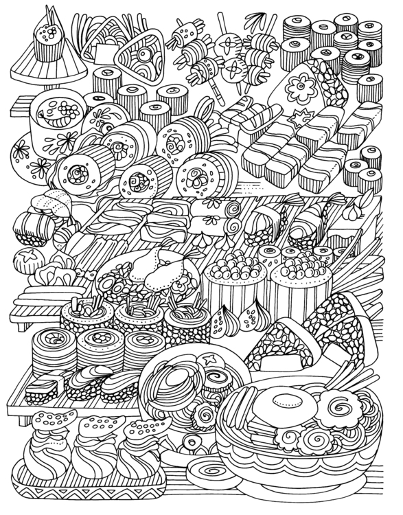 Japanese food - illustration, mandala - eu6eni | ello