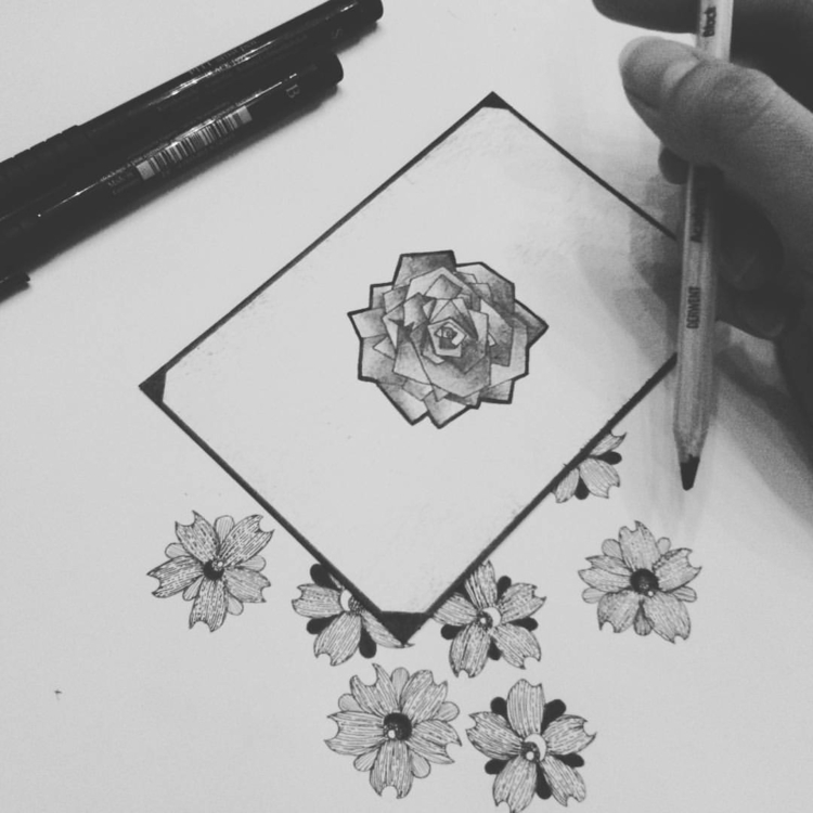 illustration, ink, drawing, flower - salutnoe | ello
