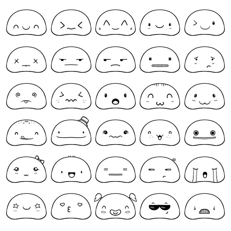 Kawaii Pattern 30 doodle faces - zita-3948 | ello