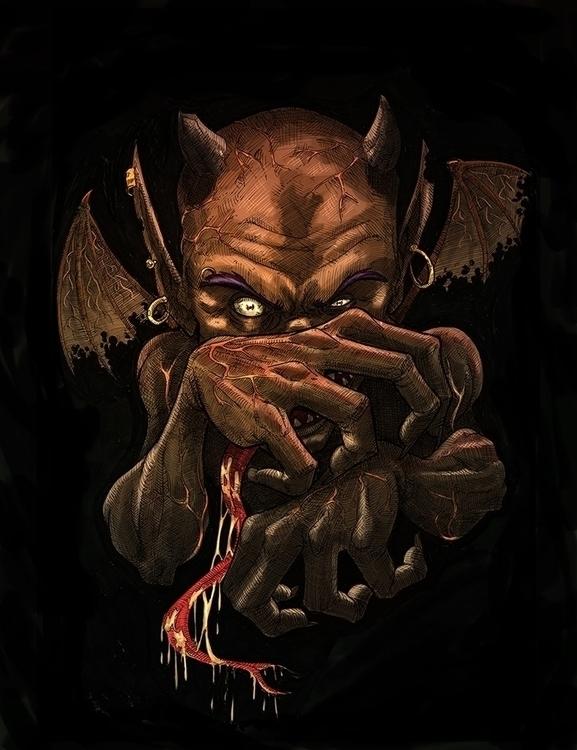 demon - horror, terror, horns, illustration - daborien | ello