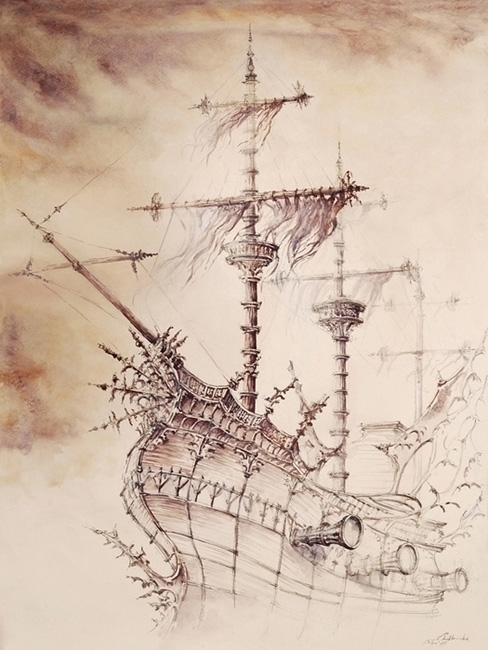 Haunted Ship - watercolor, watercolour - grimdream | ello