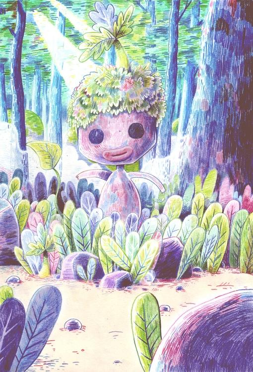Flower person - flower, nature, illustration - indiana_jonas   ello