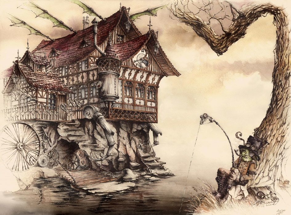 Steampunk Landscape - watercolor - grimdream | ello