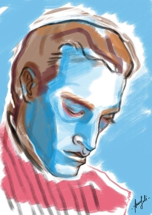 man portrait / sketch - illustration - annaorca   ello
