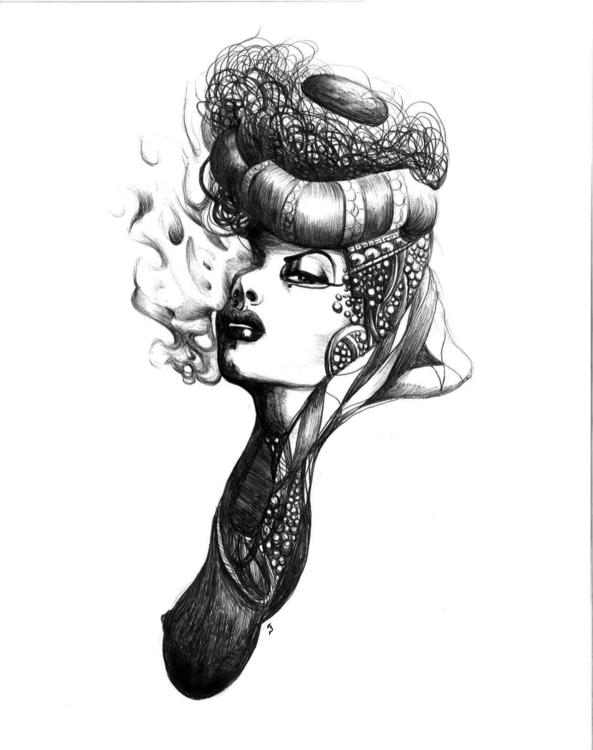 Stylo à bille, 21x29 cm - illustration - lenabousquet | ello