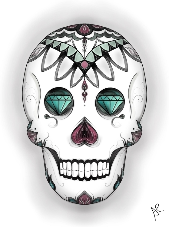 Diamond Skull - skull, diamond, illustration - angelapatricia | ello