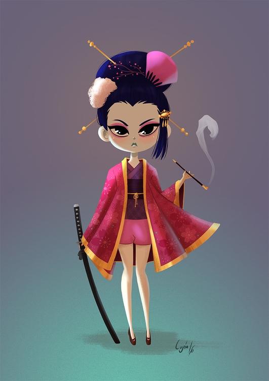 Samurai Geisha - illustration, characterdesign - lujus | ello