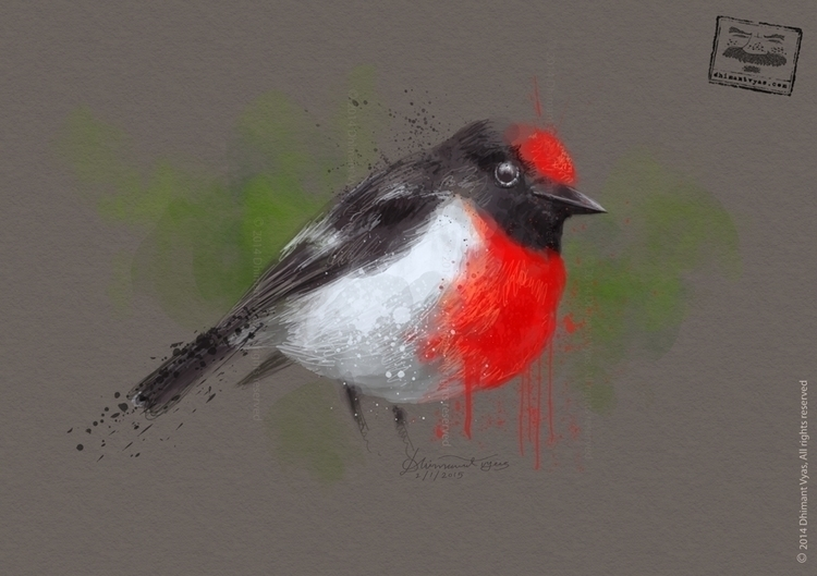 Bird01 - illustration, drawing, painting - dhimantvyas | ello
