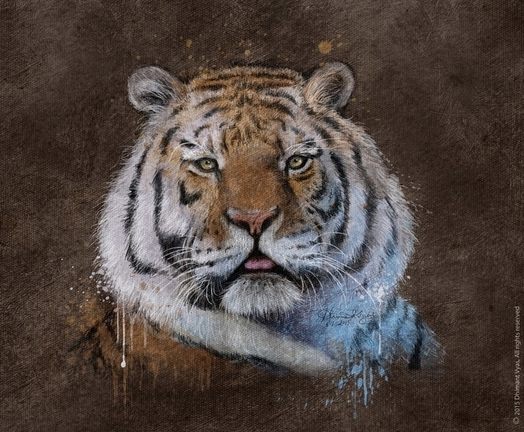 Tiger - illustration, painting, drawing - dhimantvyas | ello