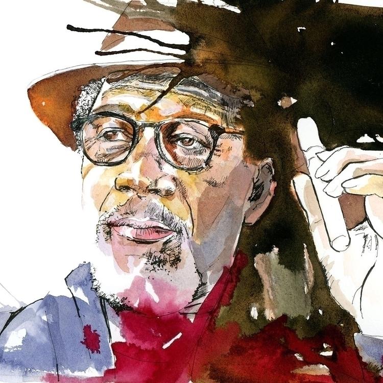 Morgan Freeman. Watercolour, in - ken-1370 | ello