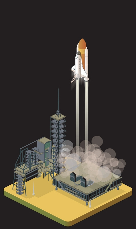 liftoff - LaunchPad, discovery, isometric - anilyanik   ello