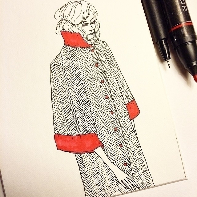 coat doodle - tweed - illustration - rachelshayne-1154 | ello