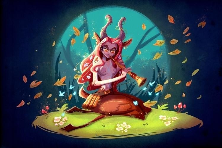 Satyress - illustration, painting - michelverdu | ello