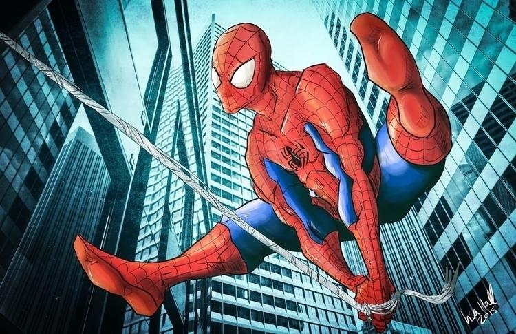 Spider Man swinging city. Illus - paulhall | ello