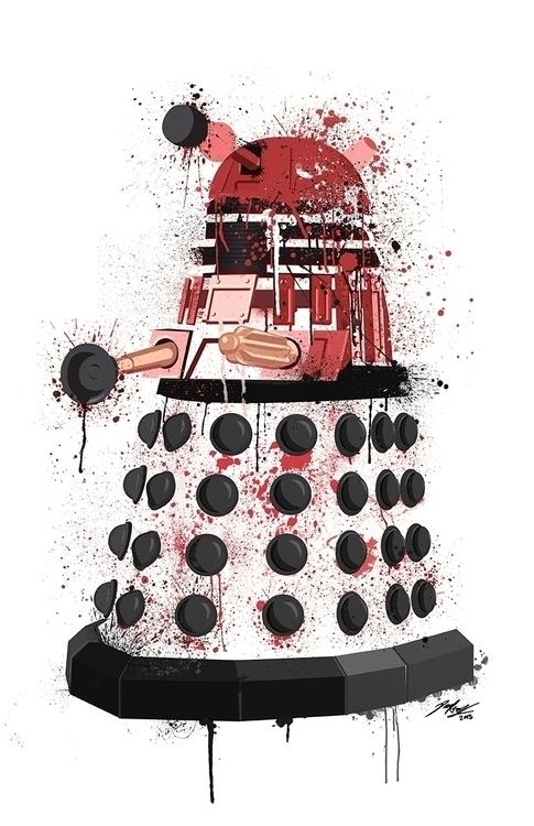 Dalek splatter art red. Illustr - paulhall | ello