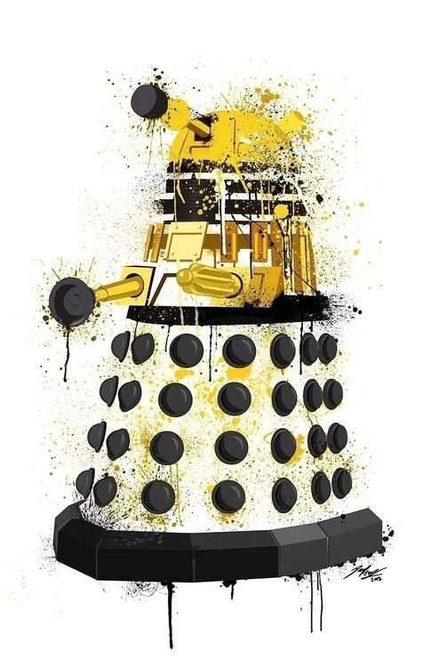 Dalek splatter art yellow. Illu - paulhall | ello