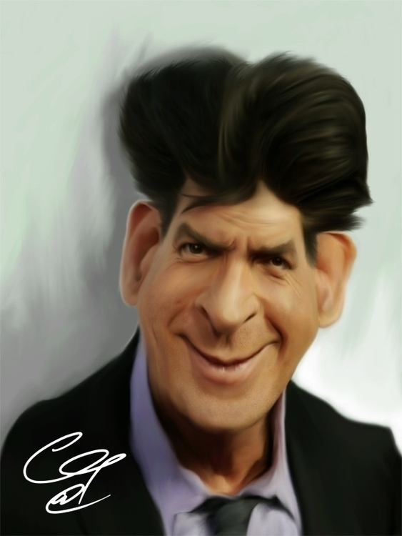 Charlie Sheen - drawing, caricature - gopher-1289 | ello