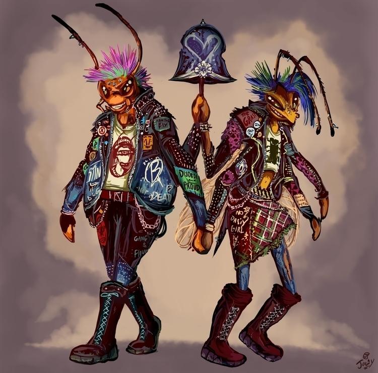 Bug Punks - punk, insects, anthropomophic - jowybeanstudios | ello
