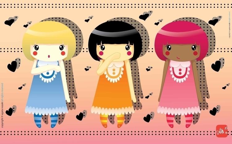 Trio Chibis - cute, kawaii, illustration - anozaki | ello