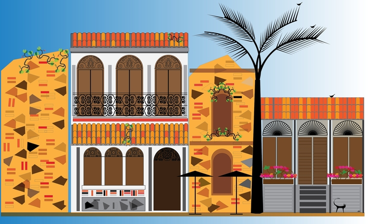 Homes Ruins - illustration, drawing - manueljaen | ello