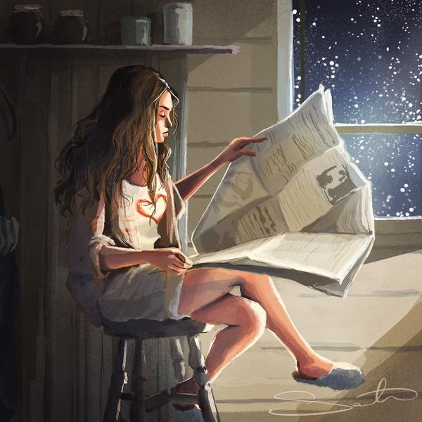 reading, snow, newspaper - samanthadoodles | ello