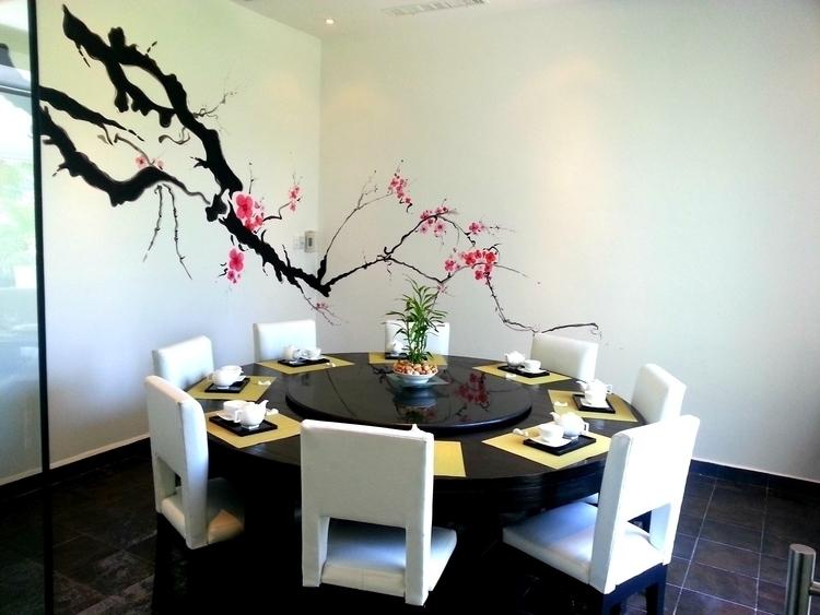 Japanese Cherry branch mural pa - michellecortazar10 | ello
