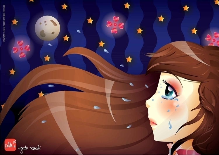 Moon - illustration, cute, cutegirl - anozaki | ello