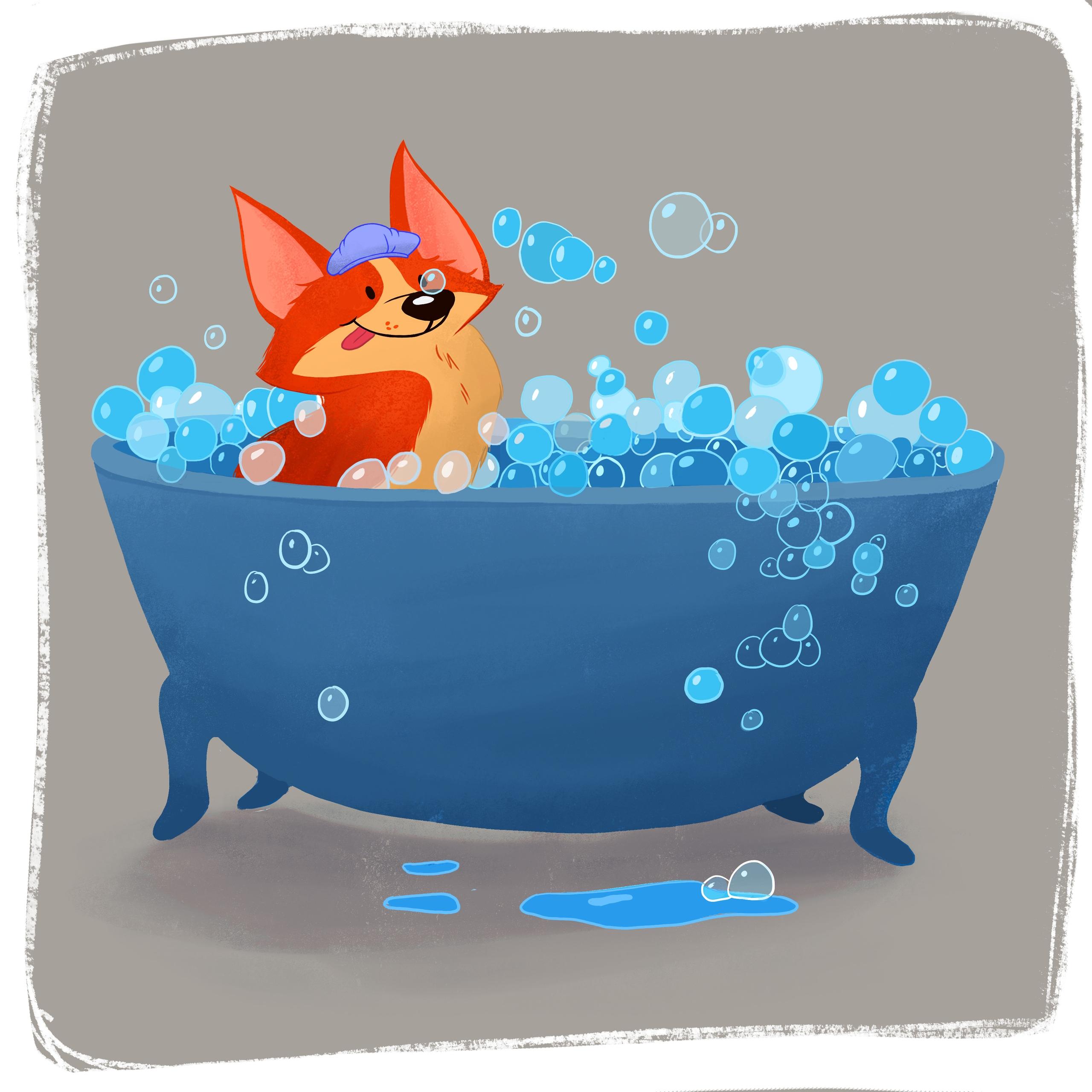 Corgi Bubble Bath - corgi, bubblebath - ashleyodell | ello