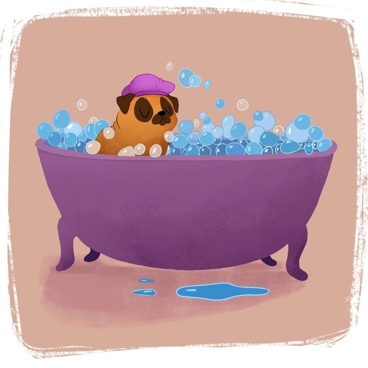 Pug Tub - pug, bubblebath, bubbles - ashleyodell | ello
