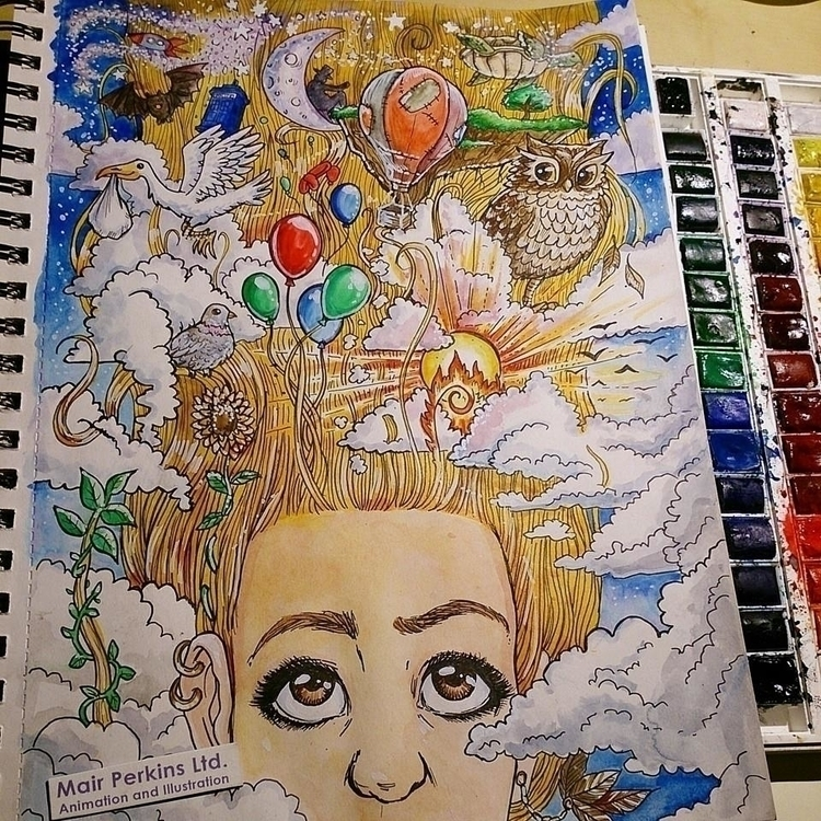 head clouds. Watercolour ink - drawing - mairperkins | ello